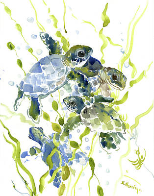 Turtle Drawing - Baby Sea Turtles In The Sea by Suren Nersisyan