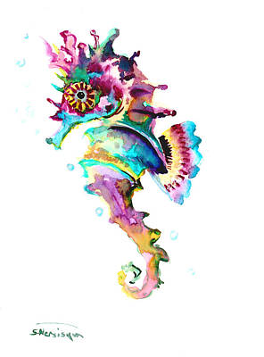 Seahorse Drawing - Baby Seahorse by Suren Nersisyan