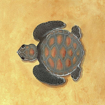 Seaturtle Painting - Baby Seaturtle  by Di Designs