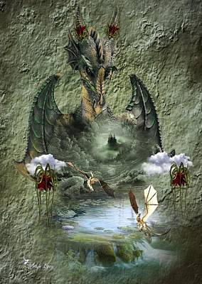 Digital Art - The Dragon Baby Sitter by Ali Oppy