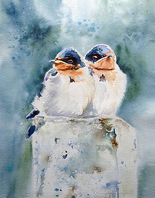 Baby Swallows Original by Michelle Irizarry