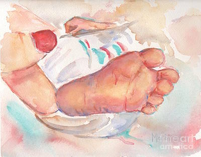 Bringing Painting - Baby Toes by Maria's Watercolor