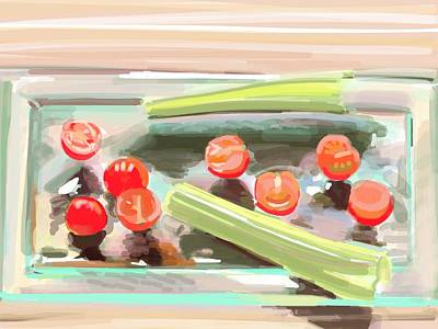 Light Touch Digital Art - Baby Tomatoes And Celery by Plum Ovelgonne