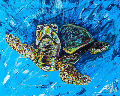 Green Sea Turtle Painting - Baby Turtle by Lovejoy Creations
