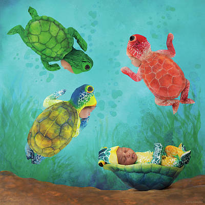Under The Ocean Photograph - Baby Turtles by Anne Geddes