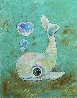 Beluga Painting - Baby Whale by Michael Creese