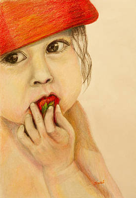 Baby With A Strawberry  Art Print