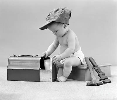 Baby With Work Tools And Lunch Pail Art Print by H. Armstrong Roberts/ClassicStock