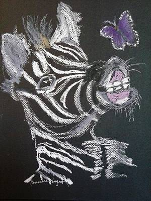Painting - Baby Zebra And Butterfly by Cassandra Vanzant