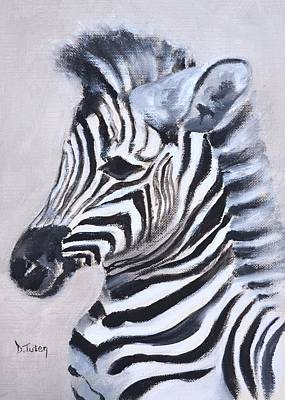 Painting - Baby Zebra Safari Animal Painting by Donna Tuten