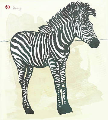 Stripes Mixed Media - Baby Zebra - Stylised Pop Art Poster by Kim Wang
