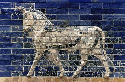 Ishtar Photograph - Babylon: Enamel Brick Bull by Granger