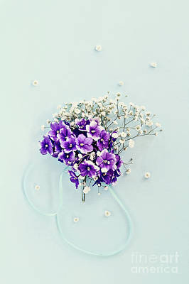 Art Print featuring the photograph Baby's Breath And Violets Bouquet by Stephanie Frey