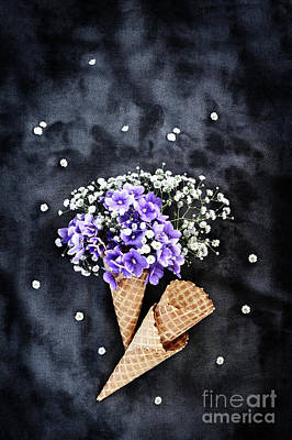 Photograph - Baby's Breath And Violets Ice Cream Cones by Stephanie Frey