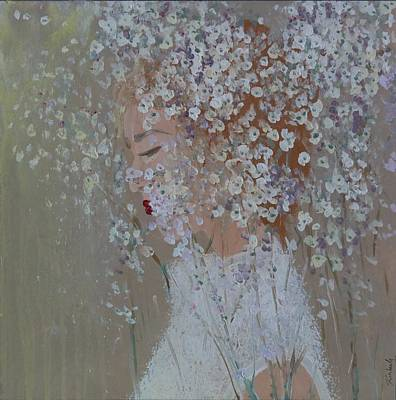 Acryllic Painting - Baby's Breath Bride Dreaming by Kimberly A P