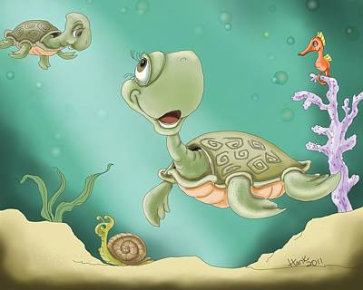 Reptiles Digital Art - Baby's Morning Swim by Hank Nunes