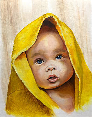 Painting - Baby with Towel by Robert Korhonen