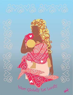 Sling Drawing - Babywearing And Breastfeeding by Parenthood Art Designs