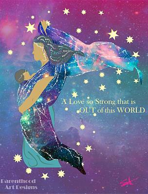 Sling Drawing - Babywearing Out Of This World by Parenthood Art Designs