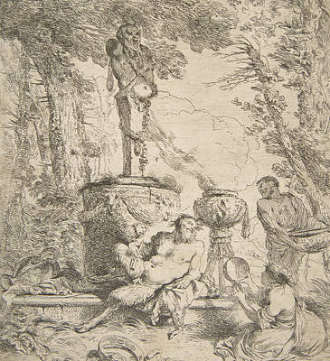 Relief - Bacchanal Before An Altar To The Gods by Giovanni Benedetto Castiglione