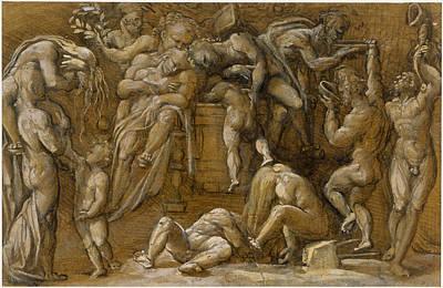 Drawing - Bacchanalian Scene by Amico Aspertini