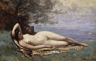 Sea Painting - Bacchante By The Sea by Camille Corot