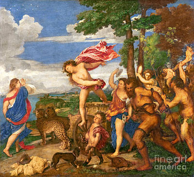 Goddess Mythology Painting - Bacchus And Ariadne by Titian