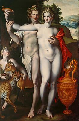 Bacchus And Venus Art Print by Bartholomaeus Spranger