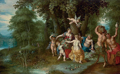 Painting - Bacchus, Venus And Ceres, An Allegory Of Autumn by Hendrick van Balen