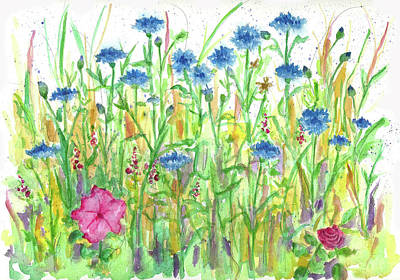 Print featuring the painting Bachelor Button Meadow by Cathie Richardson