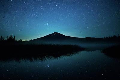 Photograph - Bachelor Mountain Stars Bend Oregon by Lawrence S Richardson Jr