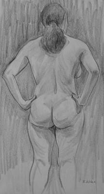 Drawing - Sloped Back, Arms Akimbo by Robert Holden
