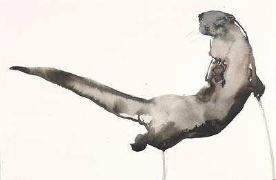 Line Movement Wall Art - Painting - Back Awash   Otter by Mark Adlington