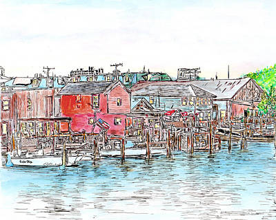 Drawing - Back Bay, Atlantic City, Nj by Michele Loftus