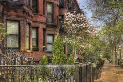 Photograph - Back Bay Boston Brownstones In Spring by Joann Vitali