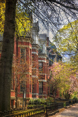 Spring Scenes Photograph - Back Bay Brownstones In Spring - Boston by Joann Vitali
