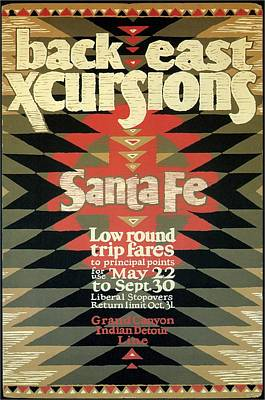 Mixed Media - Back East Xcursions - Santa Fe, Mexico - Indian Detour - Retro Travel Poster - Vintage Poster by Studio Grafiikka