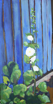 Holly Hocks Painting - Back Fence by Debbie Phillips Conejo
