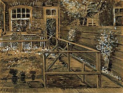 Drawing - Back Garden Of Sien's Mother House by Vincent Van Gogh