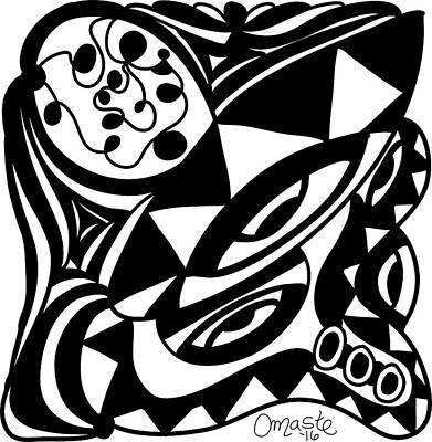 Back In Black And White 1 Modern Art By Omashte Print by Omaste Witkowski