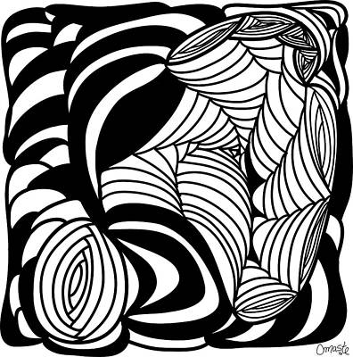 Drawing -  Back In Black And White 15 Modern Art By Omashte by Omaste Witkowski