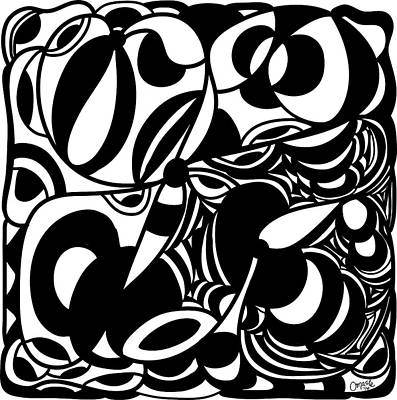 Back In Black And White 5 Modern Art By Omashte Print by Omaste Witkowski