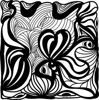 Back In Black And White 6 Modern Art By Omashte Print by Omaste Witkowski