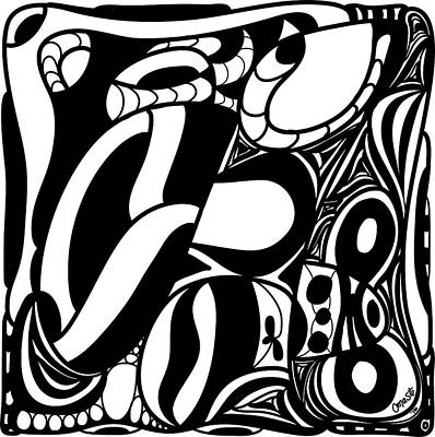 Back In Black And White 7 Modern Art By Omashte Print by Omaste Witkowski