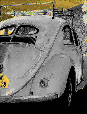 Vw Beetle Drawing - Back In Time by Sean Presher-Hughes