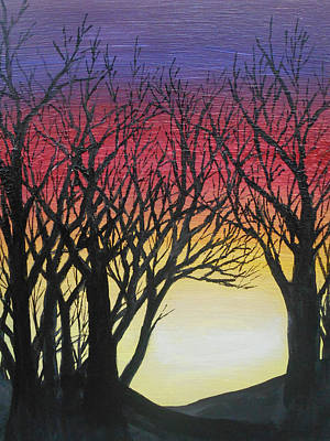 Mixed Media - Back Lit Trees by Angela Stout