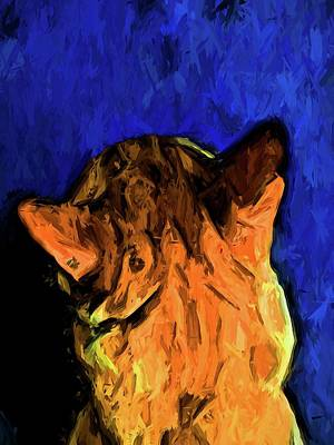 Digital Art - Back Of A Cat's Head With Some Blue by Jackie VanO