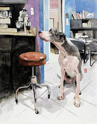 Great Dane Painting - Back Office by Debra Jones
