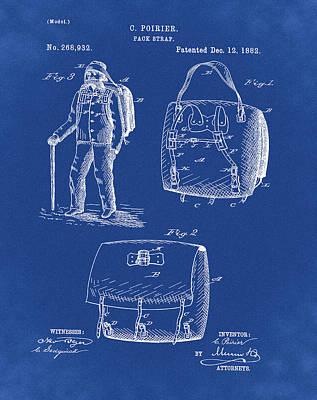 Back Pack Patent 1882 Blue Art Print