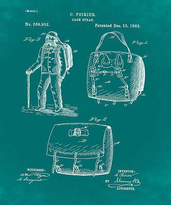 Back Pack Patent 1882 Green Art Print